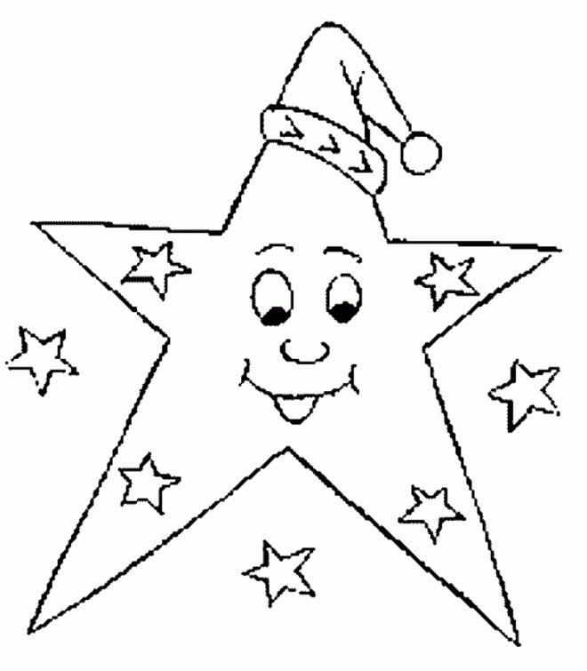 Free coloring and drawings Christmas star wearing a hat Coloring page