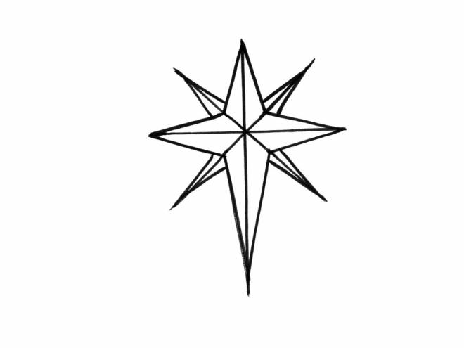 Free coloring and drawings Eight-pointed Christmas star Coloring page