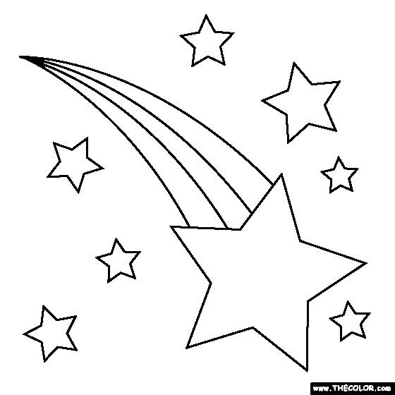 Free coloring and drawings Shooting star in the sky Coloring page