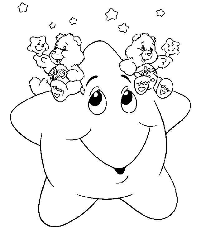 Free coloring and drawings Star and Bear Coloring page