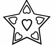 Free coloring and drawings Star and hearts Coloring page