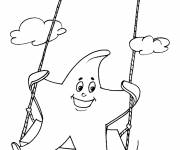 Coloring pages Star has fun in the sky