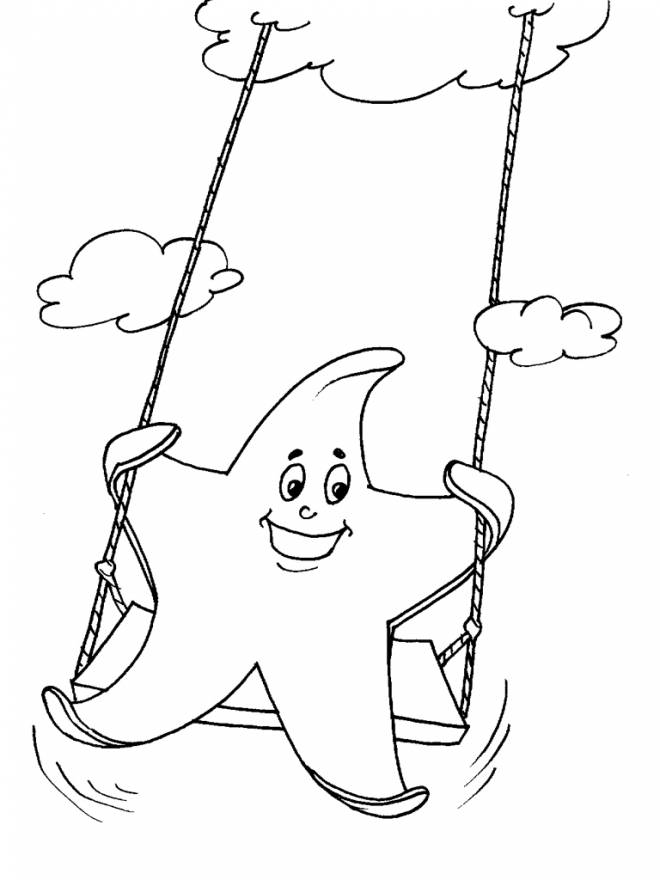 Free coloring and drawings Star has fun in the sky Coloring page