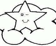 Coloring pages Star on the clouds