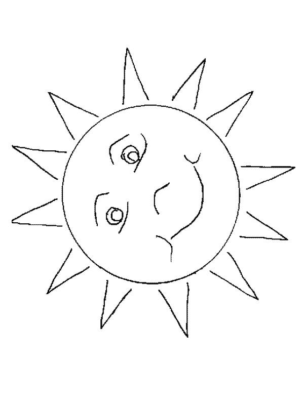 Free coloring and drawings Color stylized sun Coloring page
