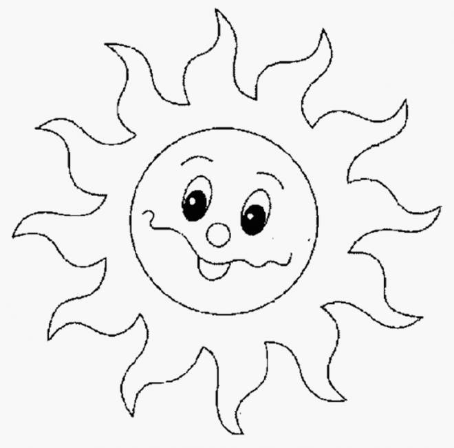 Free coloring and drawings Cute sun Coloring page