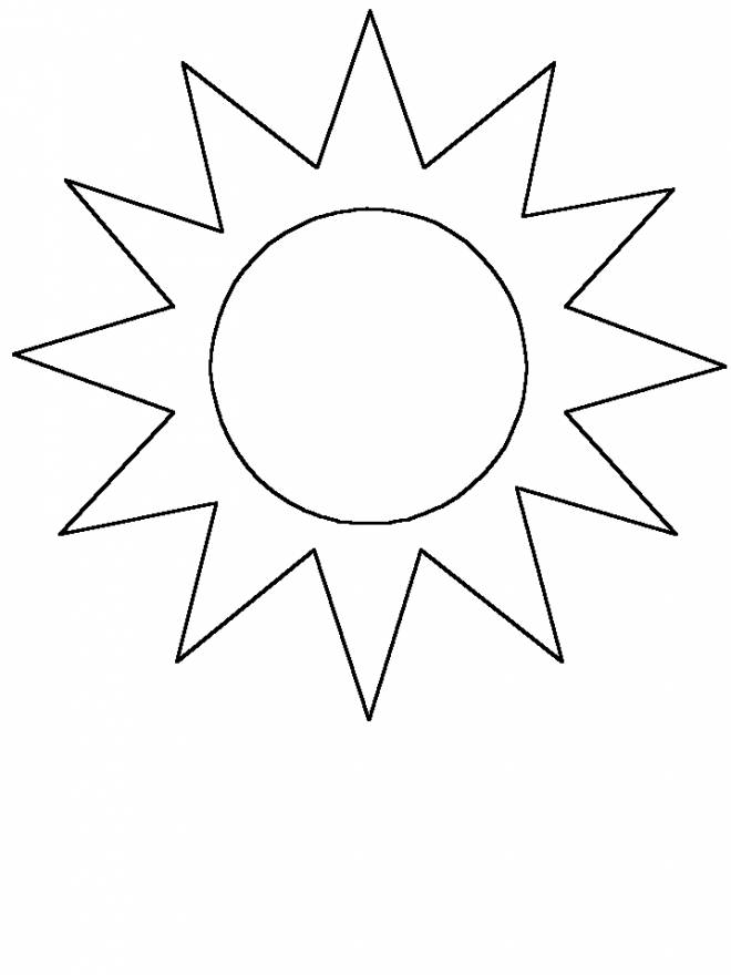 Free coloring and drawings Easy sun for decoration Coloring page