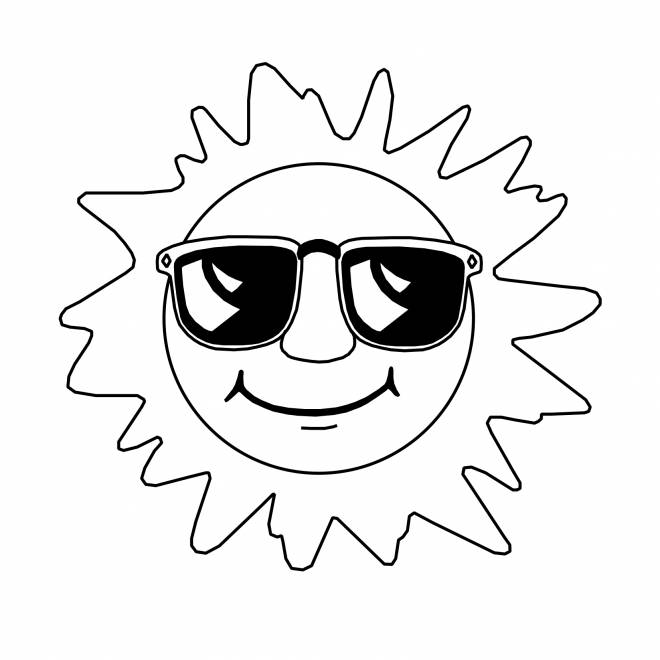 Free coloring and drawings Elegant sun Coloring page