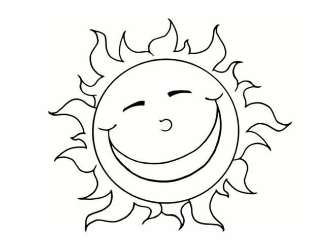 Free coloring and drawings Happy sun Coloring page