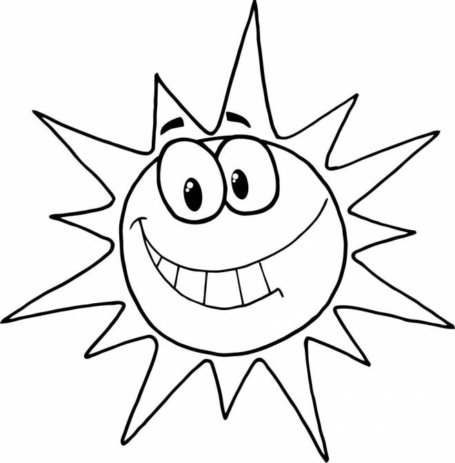 Free coloring and drawings Humorous sun Coloring page