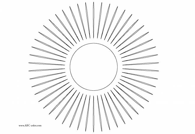 Free coloring and drawings Online solar rays Coloring page
