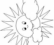 Coloring pages Stylized sun and clouds