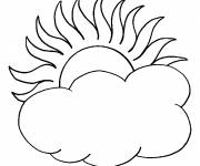 Coloring pages Sun and color clouds