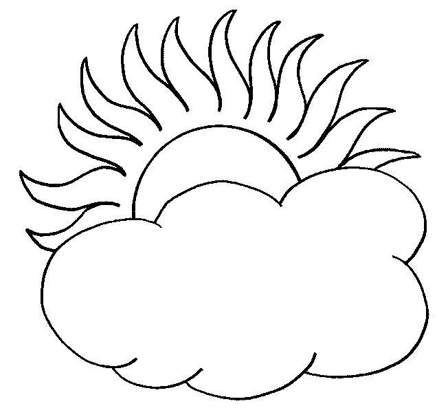 Free coloring and drawings Sun and color clouds Coloring page