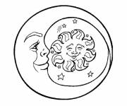 Coloring pages Sun and Crescent