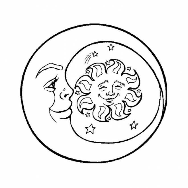 Free coloring and drawings Sun and Crescent Coloring page