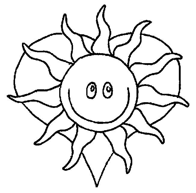 Free coloring and drawings Sun and heart Coloring page