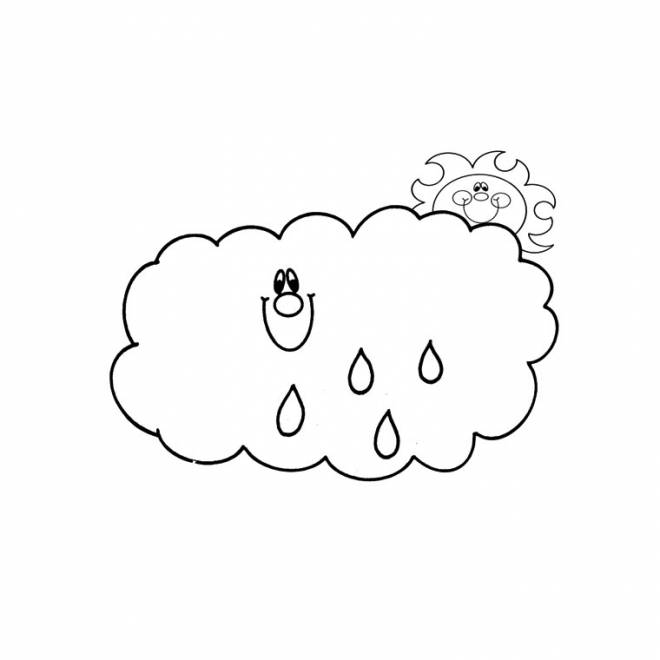 Free coloring and drawings Sun and Rain Coloring page