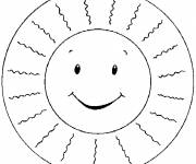 Free coloring and drawings Sun and rays for children Coloring page