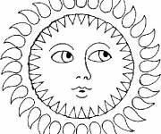 Coloring pages Sun front view