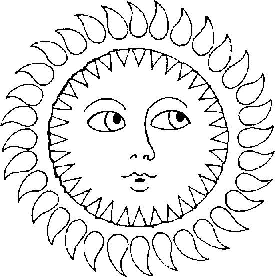Free coloring and drawings Sun front view Coloring page