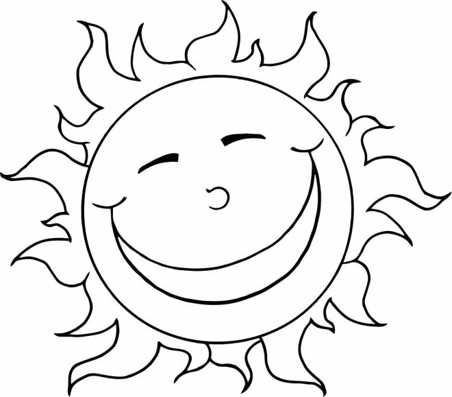 Free coloring and drawings Sun humor Coloring page