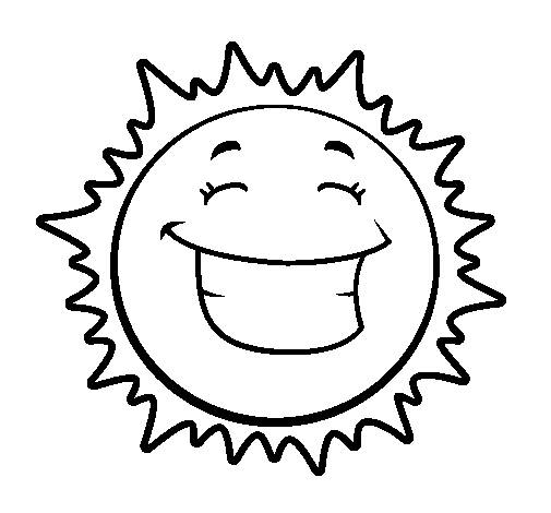 Free coloring and drawings Sun in a good mood Coloring page