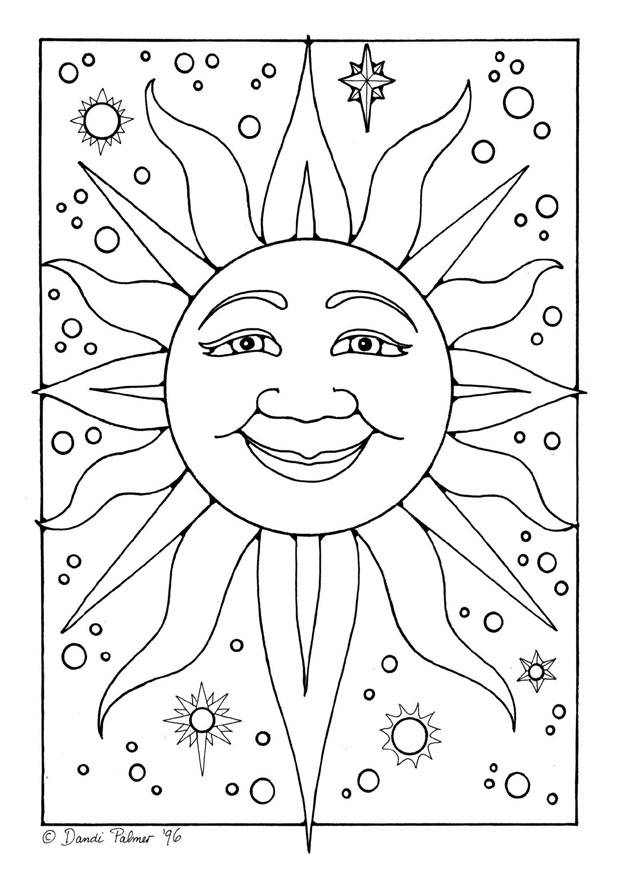 Free coloring and drawings Sun in space Coloring page