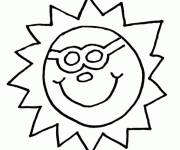 Coloring pages Sun in the easy sky