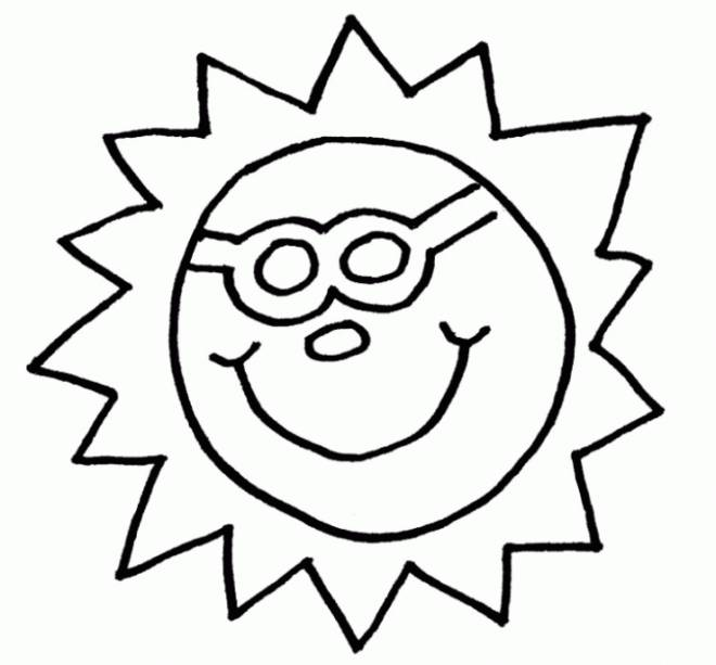 Free coloring and drawings Sun in the easy sky Coloring page