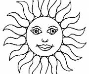 Coloring pages Sun in yellow
