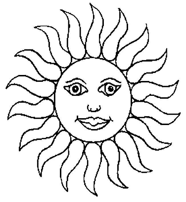 Free coloring and drawings Sun in yellow Coloring page