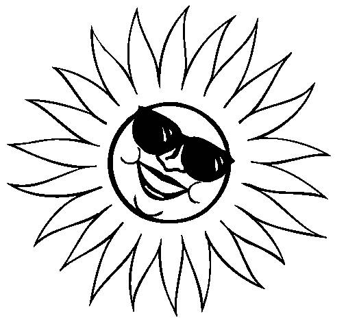 Free coloring and drawings Sun is having fun Coloring page