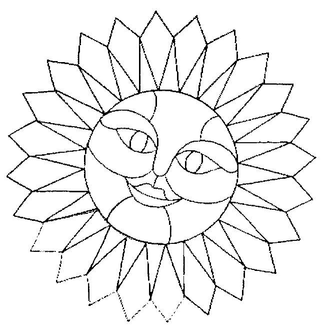 Free coloring and drawings Sun Mandala with face Coloring page