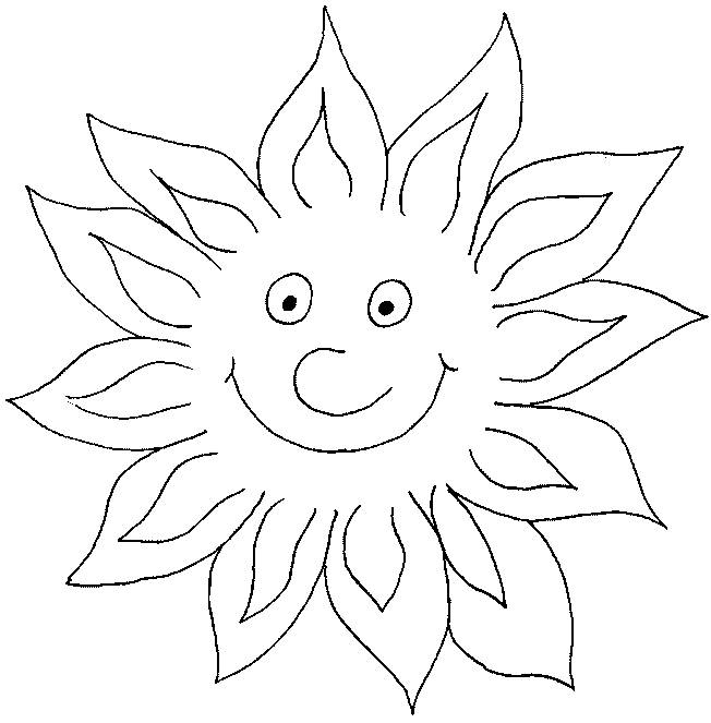 Free coloring and drawings Sun shines in color Coloring page
