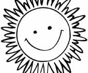 Coloring pages Sun smiling in color