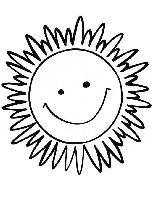 Free coloring and drawings Sun smiling in color Coloring page