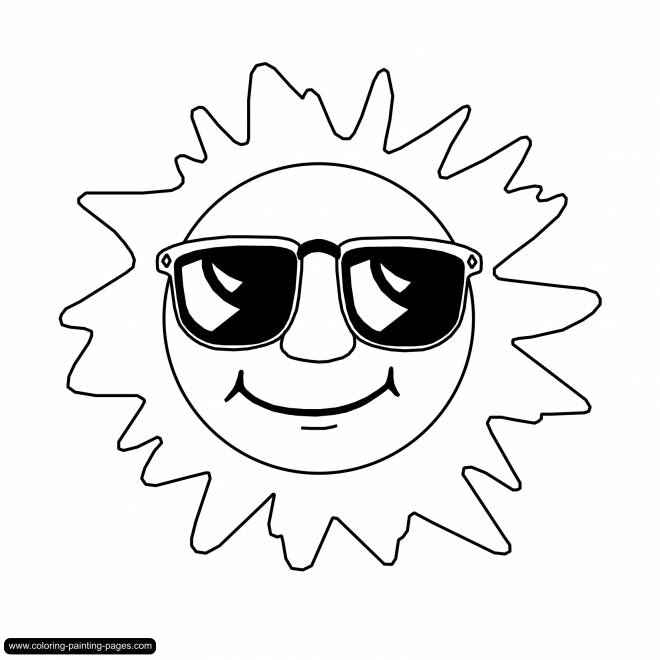 Free coloring and drawings Sun wearing sunglasses Coloring page