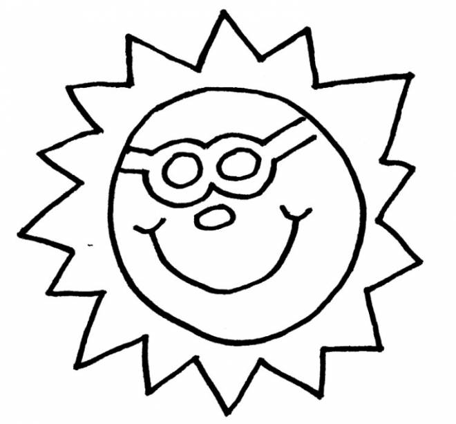 Free coloring and drawings Sun wears glasses Coloring page