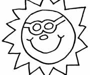 Coloring pages Sun with a humorous face