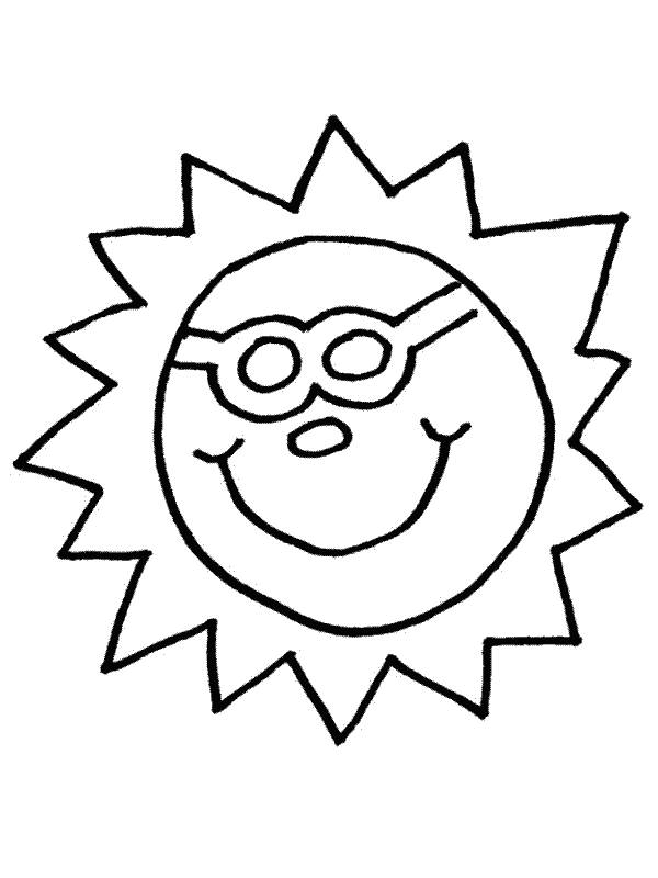 Free coloring and drawings Sun with a humorous face Coloring page