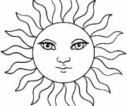 Free coloring and drawings Sun with beautiful eyes Coloring page