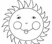 Coloring pages Sun with little eyes