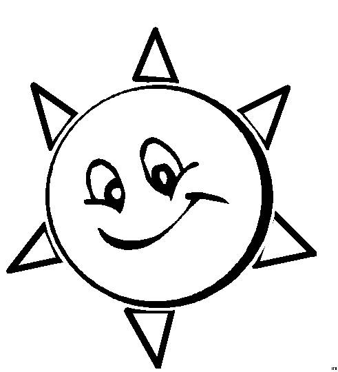 Free coloring and drawings The Animated Sun Coloring page