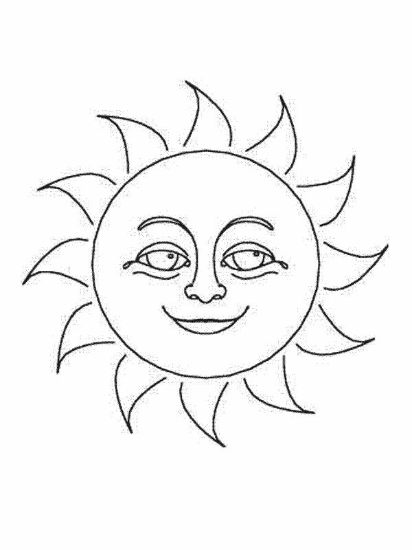Free coloring and drawings The beautiful Sun Coloring page