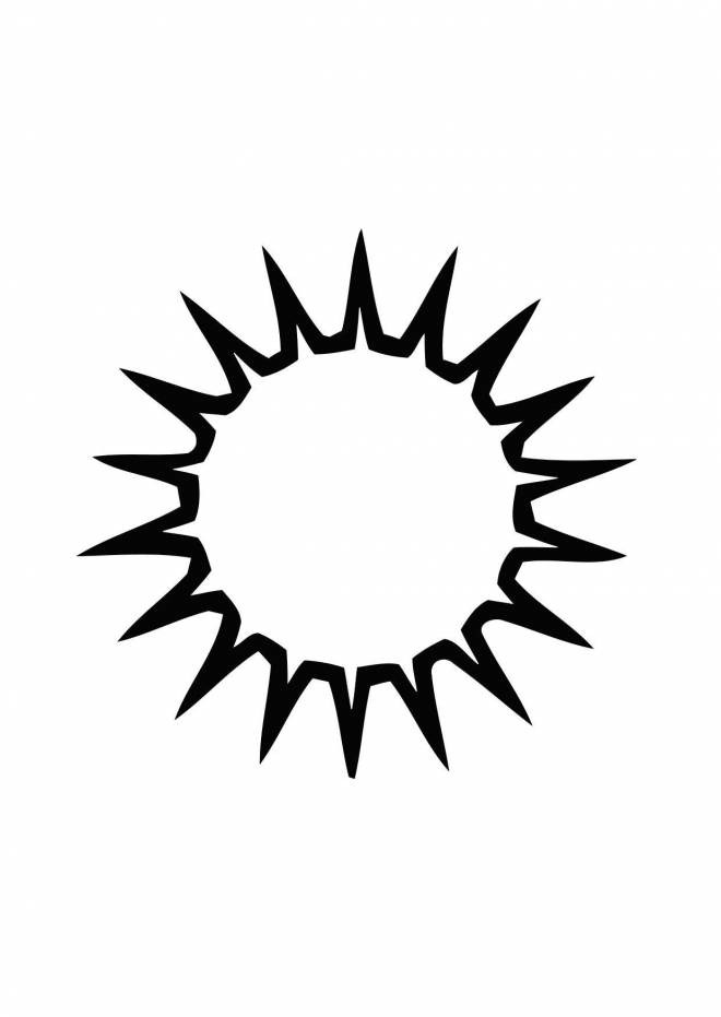 Free coloring and drawings Vector sun in black Coloring page