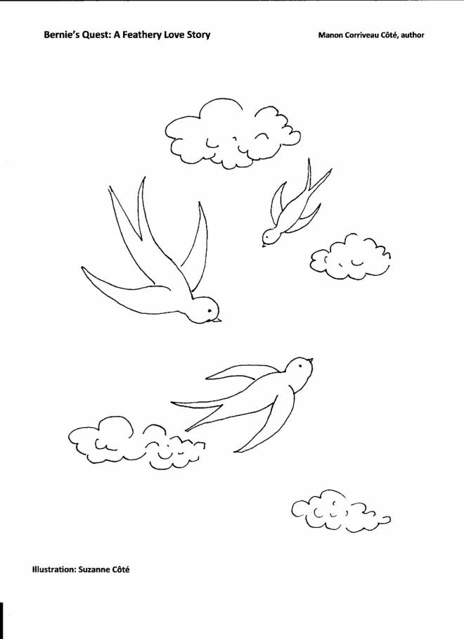 Free coloring and drawings Swallows in spring Coloring page