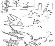 Coloring pages Swallows on earth