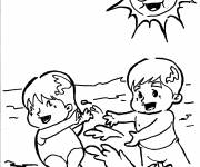 Coloring pages Babies have fun in the sun