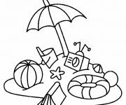Coloring pages Ball, umbrella and beach toys